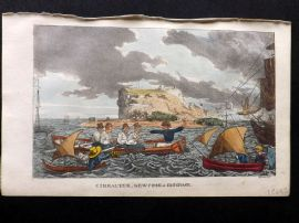 Rowlandson Johnny Newcome 1823 HCol Naval Satire Print. Gibraltar, Newcome in Disgrace
